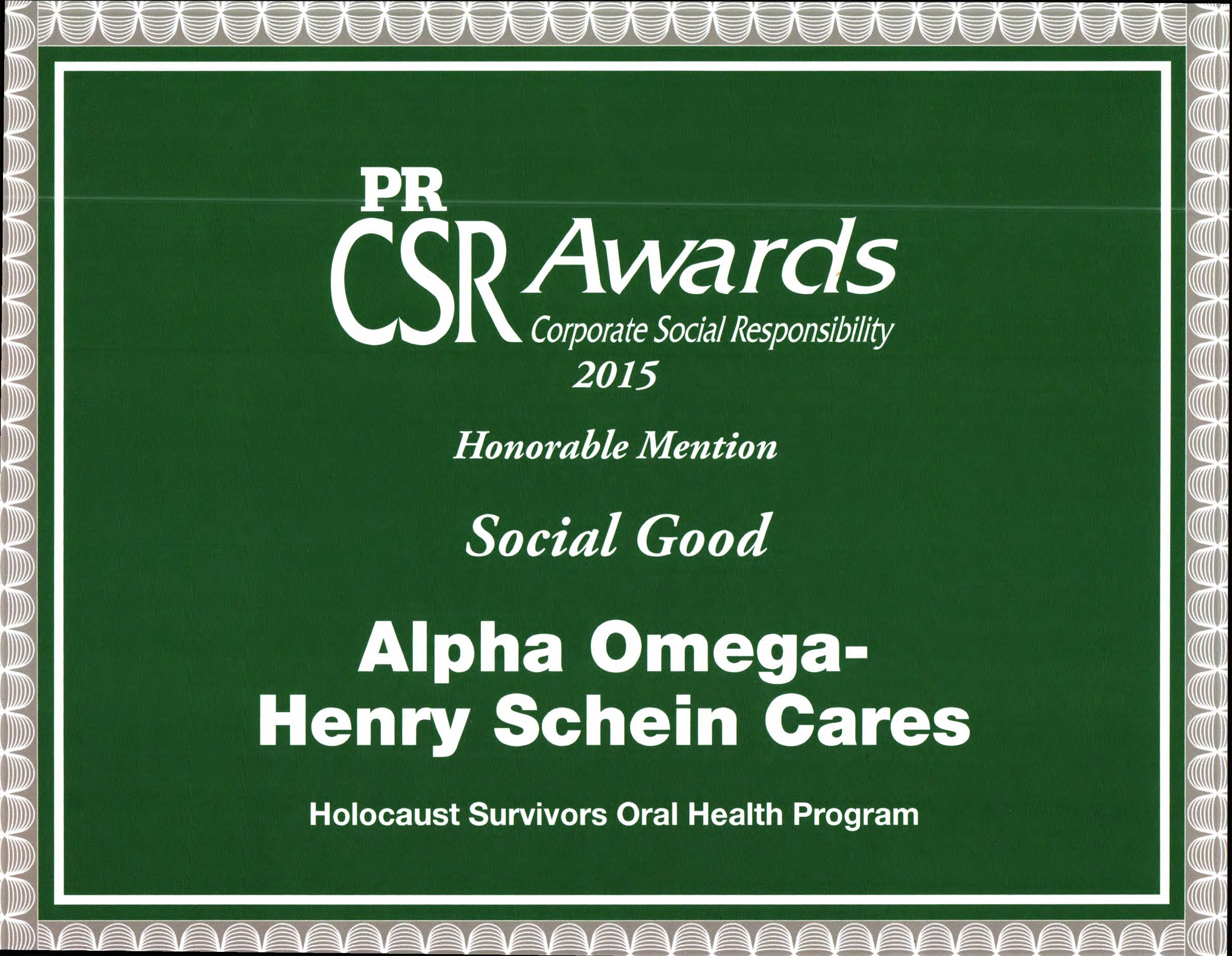 AO-Henry Schein Cares Holocaust Survivors Program Receives Recognition from PR Newswire - March 2015