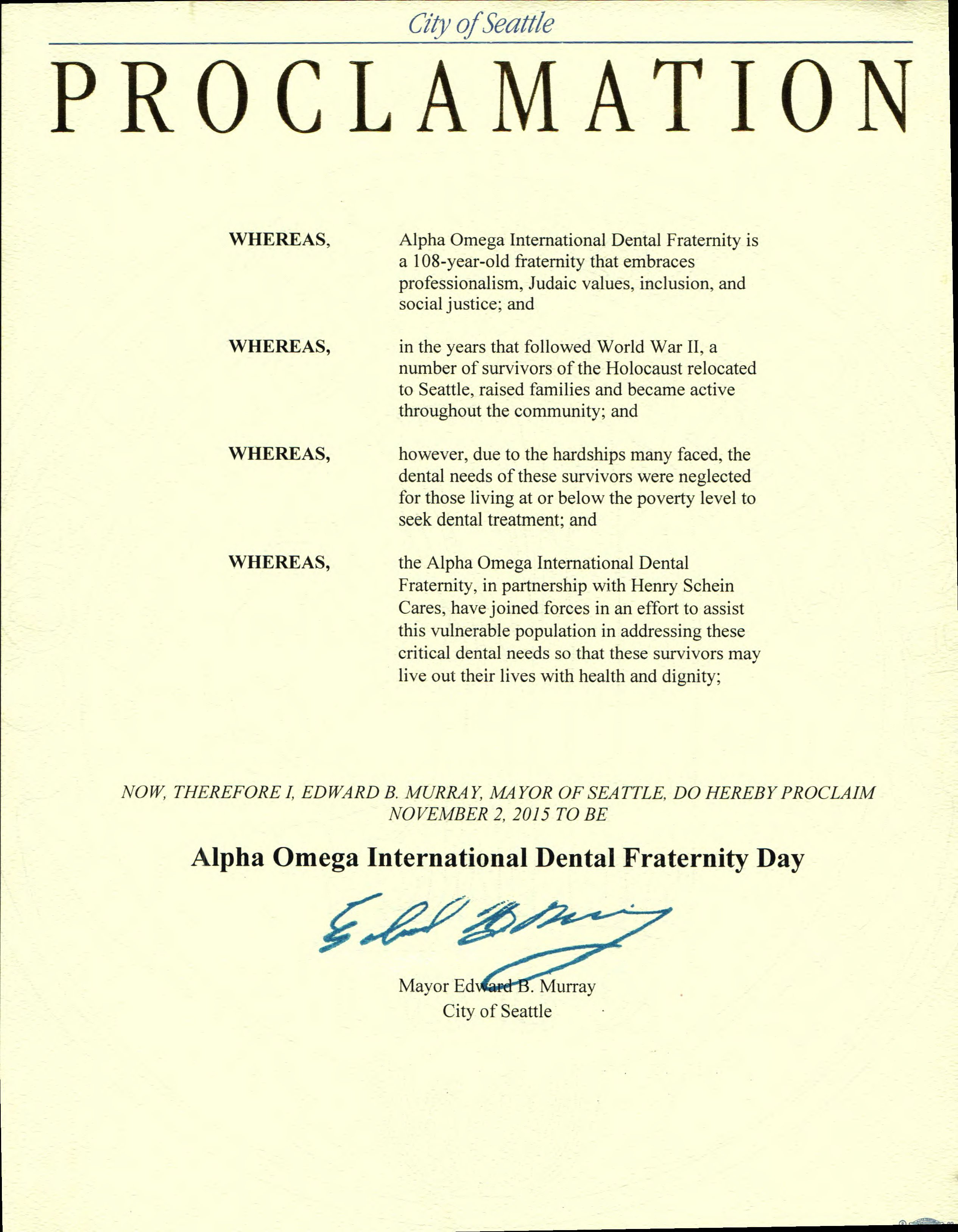 Seattle Mayor Gives Proclamation to AO Seattle Chapter